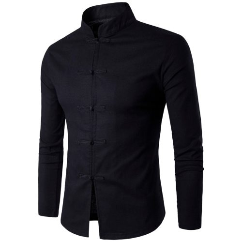 New Arrival Men's Chinese Tradition Style Shirt Male Solid Color Mandarin Collar shirts Long Sleeve cotton linen Casual Shirt