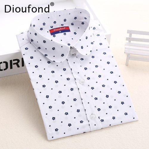Dioufond Floral Women Blouses Polka Dot  Blouse Long Sleeve Shirt Women Cotton Camisas Femininas Blusa Feminina Ladies Tops
