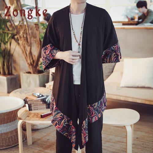 Zongke Patchwork Floral Chinese Kimono Shirt Men Long Kimono Cardigan Men Shirt Japanese Kimono Men Blouse 2019 Spring New