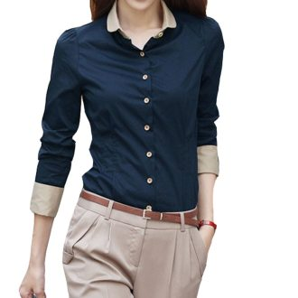 5XL Patchwork Long Sleeve Shirts Women Blouse Autumn Lapel Office Ladies Button Casual Shirt Plus Size Blouses Blue Tops Blusas