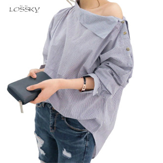 Women Striped Blouses Sexy Long Sleeve Shirts Off Shoulder Top Blouse 2019 Autumn Fashion Shirt Female Womens Tops And Blouses
