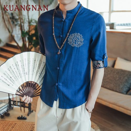 KUANGNAN Chinese Style Embroidery Men Shirt Cotton Linen Streetwear Men Shirts Casual 5XL White Shirt Men Fashions 2019 New