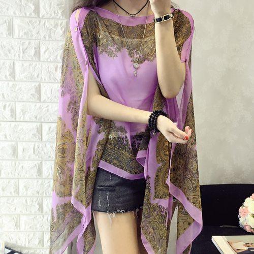 Fashion Floral Chiffon Blouses Women Spring Summer Style Beachwear Cover up Elegant Flower Print Chiffon Loose Shirt 6Q0456