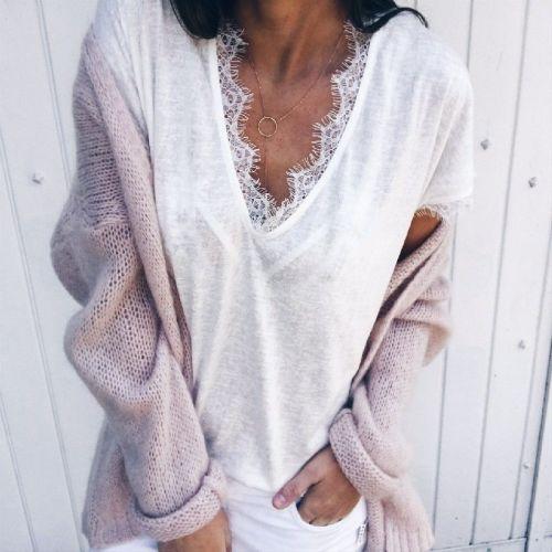 Fashion Womens Casual Short Sleeve loose Lace tops and Blouses elegant Basic Harajuku tee Shirt femme v neck blusa feminina