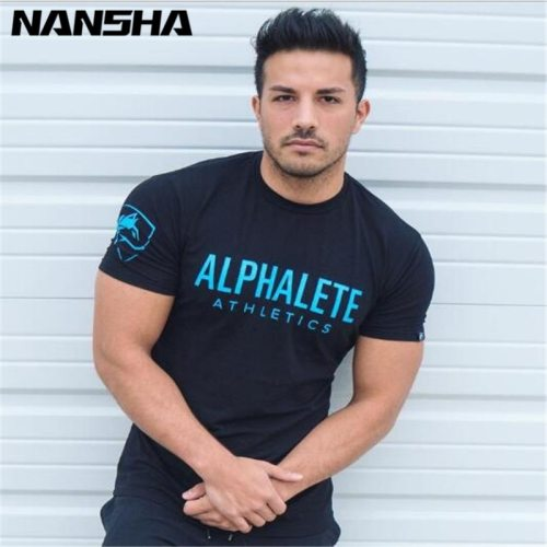 ALPHALETE Summer New Men Gyms T shirt Fitness Bodybuilding Crossfit  Slim Shirts Fashion Leisure Short Sleeved Cotton Tee Tops