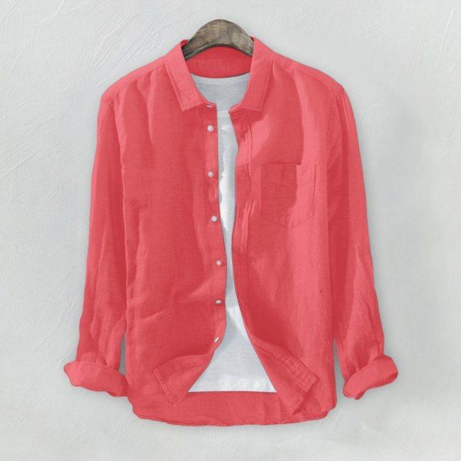 Plus Size 3XL Tunic Mens Solid Blouse Linen Basic Button Casual Linen Cotton Long Sleeve Shirts Men Summer Casual Shirts Tops