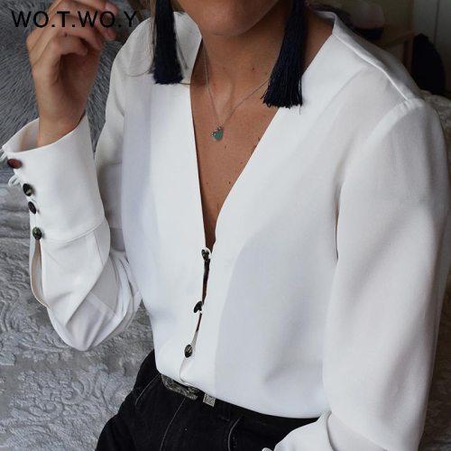 WOTWOY Long Sleeve White Blouse Women Casual Chiffon Blouse Shirt Women Spring Summer Kimono Tunic Tops Feminino Blusas Harajuku