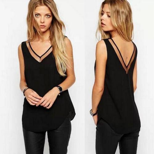 XL XXL XXXL Women Chiffon Shirt 2019 Summer Sexy V Neck Top Girl Casual Mesh Patchwork Blouse Tops Plus Size 6 SIZE