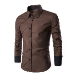 New men's long-sleeved shirt Mesh pattern design Casual shirt 10 colors
