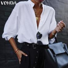 VONDA New Women Blouses 2019 Summer Office Lady White Shirts Lantern Sleeve Buttons Deep V Neck White Blouse Sexy Plus Size Tops