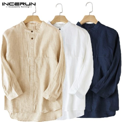 INCERUN Casual Men Shirt 3/4 Sleeve Stand Linen Baggy Male Tops Blouse Solid Collar Cotton Leisure Vintage Shirts Men Plus Size