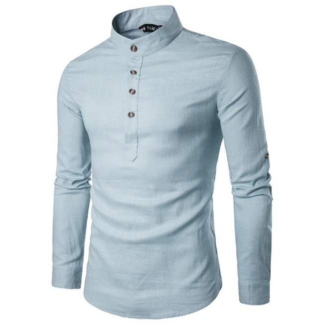 2019 Men casual Shirt Mandarin Collar Breathable Comfy Traditional Chinese Style Cotton Polyester long sleeve shirts EU size