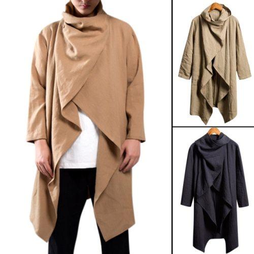 Men Trench Coat Cotton Long Sleeve Scarf Collar Hip-hop Jacket Coats Men Cloak Outerwear Punk Style Streetwear DA066