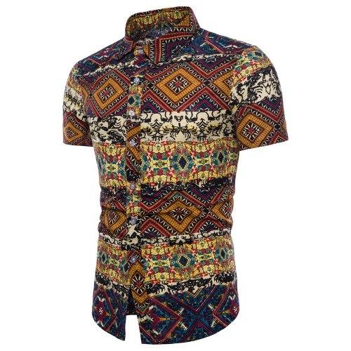 LNCDIS Summer NEW Fashion Men Bohe Floral Short Sleeve Linen Basic Blouse Top Plus Size Daily Wholesale Freeship N4