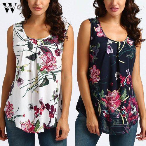 Women Printed Floral Crop Top Short Sleeveless Tank Top Blouse  6.12