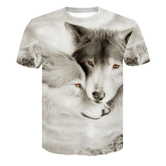 2018 Newest Wolf 3D Print Animal Cool Funny T-Shirt Men Short Sleeve Summer Tops T Shirt Tshirt Male Fashion T-shirt Male4XL