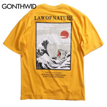 GONTHWID Japanese Ukiyo Cat Wave Printed Streetwear T Shirts 2019 Summer Mens Hip Hop Casual Short Sleeve Tops Tees Male Tshirts