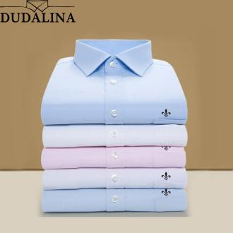 DUDALINA 2019 Men Shirt Plus Size Pocket Long Sleeved Classical Male Shirts Formal Business Shirt Man Embroidery Logo S-9XL