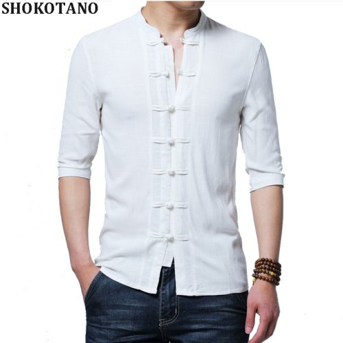 SHOKOTANO Chinese Style Linen Shirt Men Half Sleeve Solid Retro Tang Costume Shirt