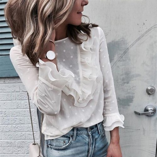 Womens Boho Beach Ruffle Frill Polka Dot Tops and Blouses elegant Long Sleeve Female Party Blouse blusas femininas elegante
