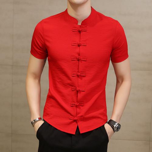 2019 Summer New Men Shirt Fashion Chinese style Linen Slim Fit Casual Short Sleeves Shirt Camisa Social Business Dress Shirts