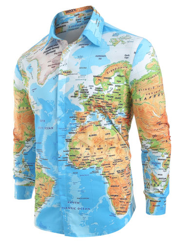 Hemiks Men Shirt World Map Print Hidden Button Slim Fit shirts Long Sleeve Lapel Casual Shirts Men Dress Camisa Masculina