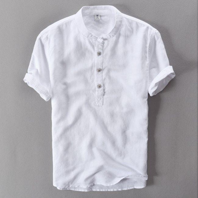 2019 summer linen Shirt casual men's short sleeved shirts breathes Cool hawaiian shirt loose European size High Quality