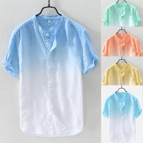 2019 Brand New Summer Men's Cool And Thin Breathable Collar Hanging Dyed Gradient Cotton Shirt M-3XL chemise homme  #50