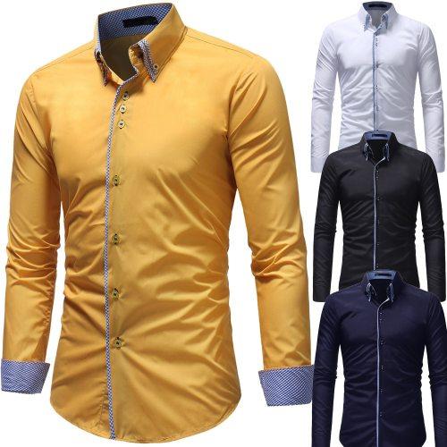 High Quality New Men's Autumn Casual Formal Slim Button-Down Long Sleeve Dress Shirts Drop Shipping 0730