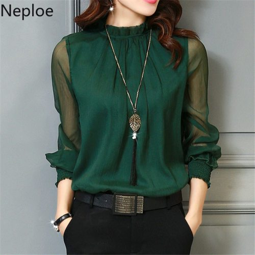 Chiffon Blouse 2019 New Women Tops Long Sleeve Stand Neck Work Wear Shirts Elegant Lady Blouses Casual Solid Color Blusas 32746