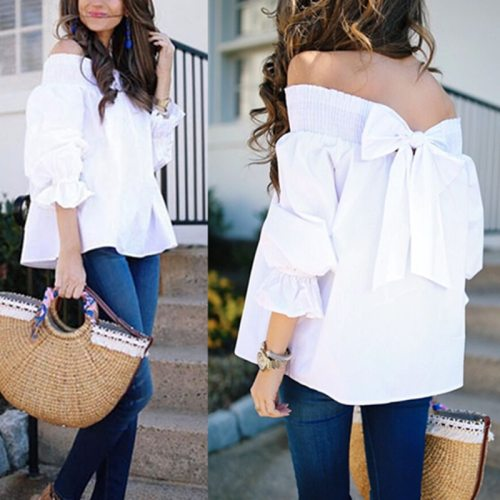 Sexy Off Shoulder Tops Spring Summer Strapless Celmia 2019 Women Blouse Bowknot Slash Neck Shirts Casual Loose Blusas Plus Size