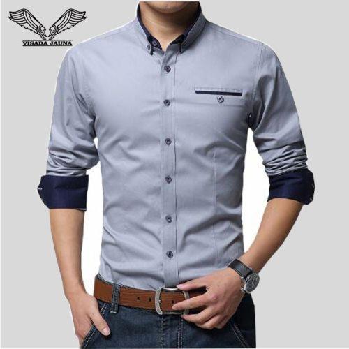 VISADA JAUNA 2018 New Men Shirts Business Long Sleeve Turn-down Collar Cotton Male Shirt Slim Fit Popular Designs N837
