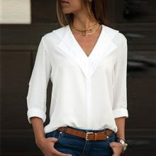 White Blouse Long Sleeve Chiffon Blouse Double V-neck Women Tops and Blouses Solid Office Shirt Lady Blouse Shirt Blusas Camisa