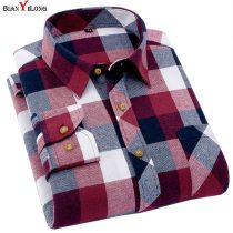 Men's Plaid Flannel Shirt Slim Fit Soft Spring Male Shirt Brand Men's Business Casual Long-sleeved Shirts  Plus Size 5XL 6XL