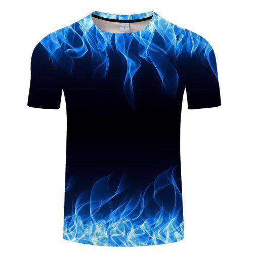 Blue Flaming tshirt Men Women t shirt 3d t-shirt Black Tee Casual Top Anime Camiseta Streatwear Short Sleeve Tshirt Asian size