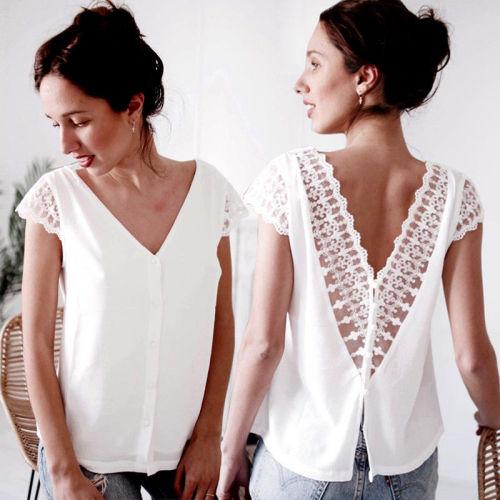 Womens Casual Short Sleeve Lace Tops and blouses elegant Ladies Summer V Neck Harajuku Blouse white Ladies blusa feminina