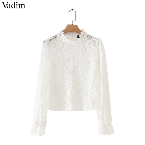 Vadim women loose white lace short blouse petal sleeve hollow out see through shirts female oversized solid chic tops LA868