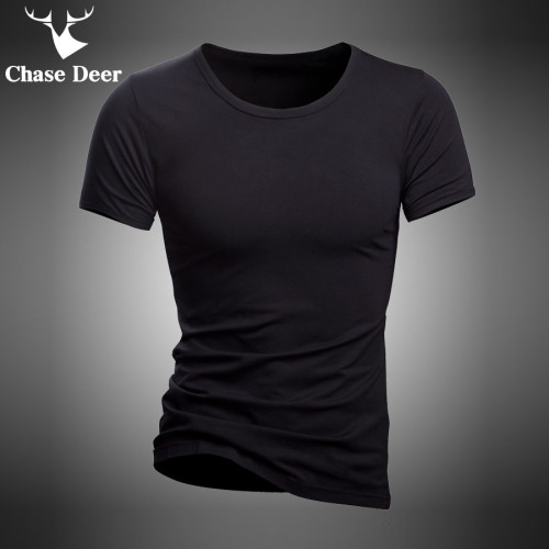 2019 Summer T Shirt Solid Cotton High Quality Slim Casual New Brand Chase Deer White And Black Tracksuit Underwear T-Shirt Men