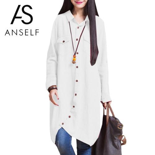 tunic Women's Shirt Blouse Plus Size 3XL 4XL 5XL Long Top female Irregular Hem Button Loose Casual Long Sleeve Vintage Tops Lady