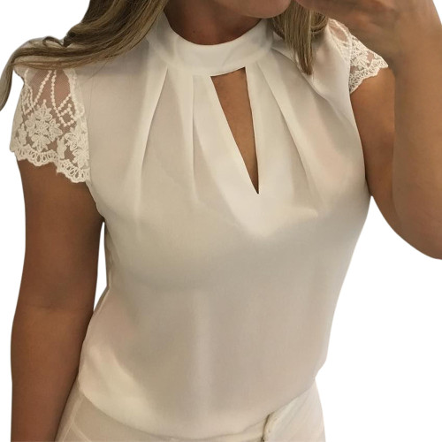 Women Sexy Blouses Summer Casual Hollow Chiffon Short Sleeve Splice Lace Tops Blouse Shirts Sexy Accessories Plus Size 3XL #30