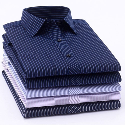 Long Sleeve Formal Men's Striped Dress Shirts Social Turn-down Collar With Pocket Regular Fit Business Male Smart Casual Shirt
