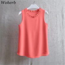 Woherb 21 Colors Solid Ruffle Chiffon Blouse Women 2019 Summer Fashion Vest Blusas Casual Loose Sleeveless Ladies Tops Shirt