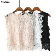 Vadim women sweet lace crop top sleeveless O neck transparent blouse female hollow out short stylish shirts blusas WA242