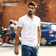 Simwood 2019 New Arrival Summer Short-sleeved Shirts Men 100% Linen White Solid Color Slim Fit Plus Size Collarless Tops CS1534