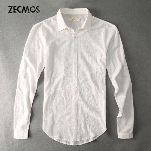 Casual Hawaiian Shirts Men Cotton Linen Designer Brand Slim Fit Man Shirts Long Sleeve White Shirts For Men Clothes Spring