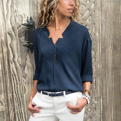 Rogi Casual Women Tops And Blouses 2019 Fashion Irregular V Neck Solid Women Shirts Summer Autumn Slim Ladies Tops Camisas Mujer