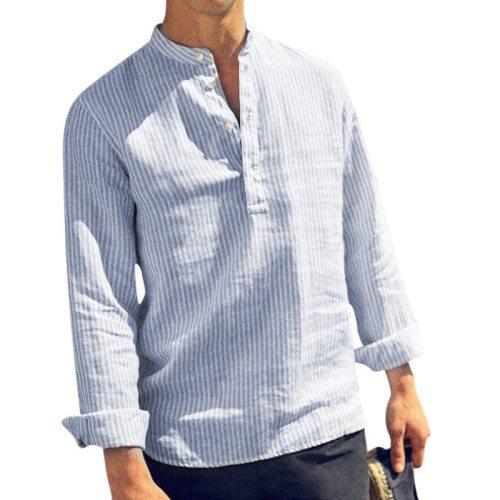 Drop Shipping 2019 Spring Summer Long Sleeve Shirt Men Solid Striped Casual Shirts Henry Collar Cotton Linen Men's Shirt