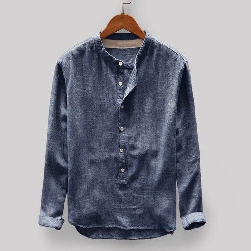 NEW fashion Mens sweatshirt Autumn Winter Button Casual Linen and Cotton Long Sleeve Top Blouse oversized sweatshirt sudaderas