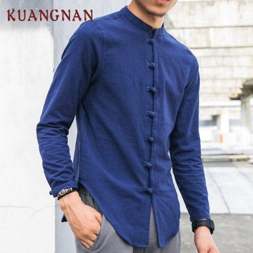 KUANGNAN Chinese Style Men Shirt Long Sleeve Solid Casual Streetwear Men Shirt Man Cotton Linen Shirt Men Clothes 2019 New