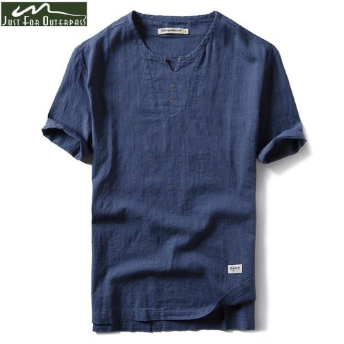 2019 New Summer Brand Shirt Men Short Sleeve Loose Thin Cotton Linen Shirt Male Fashion Solid Color Trend V-Neck Tees Hi-Q